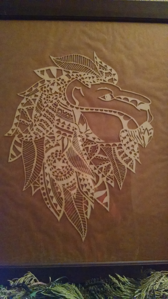 Picture of laser cut lion